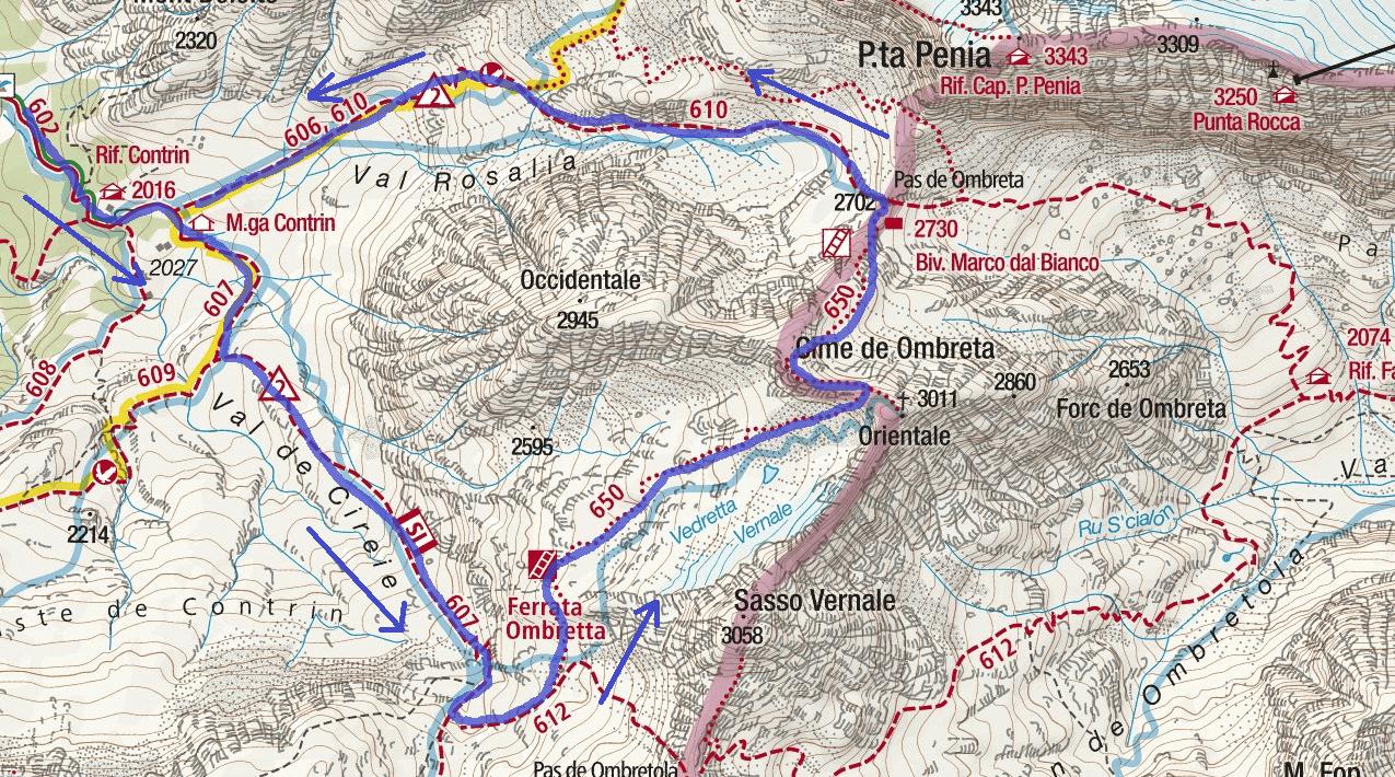 Ombretta Ferrata Map Vernale Itinerary Detail