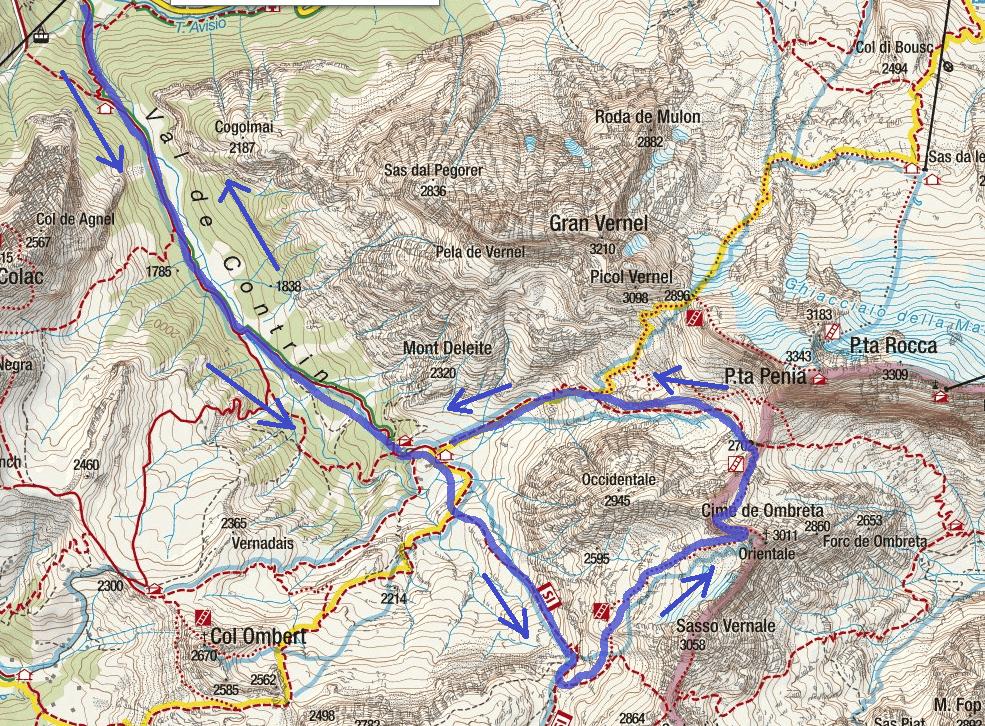 Ombretta Ferrata map Vernale Route