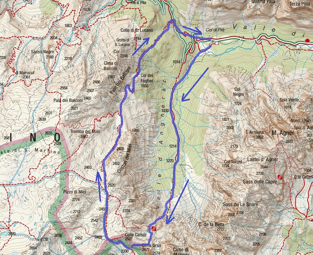 Ferrata Orsa Doctor Route Map