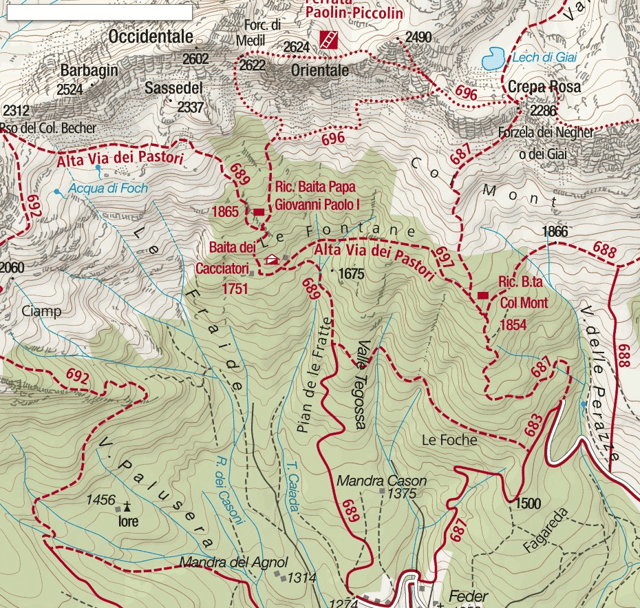 Paolina Piccolin Ferrata Map