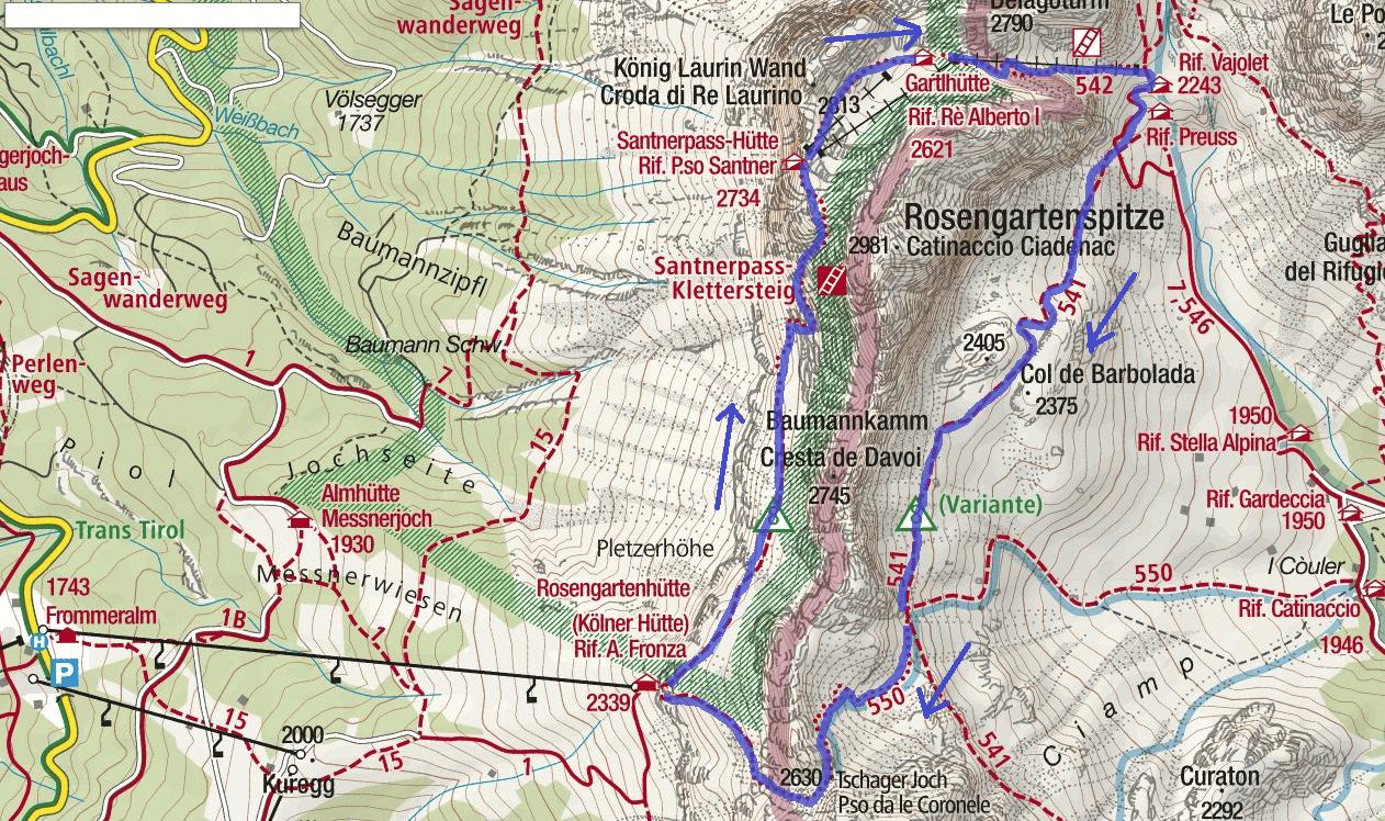Passo Santner Ferrata Map Itinerary