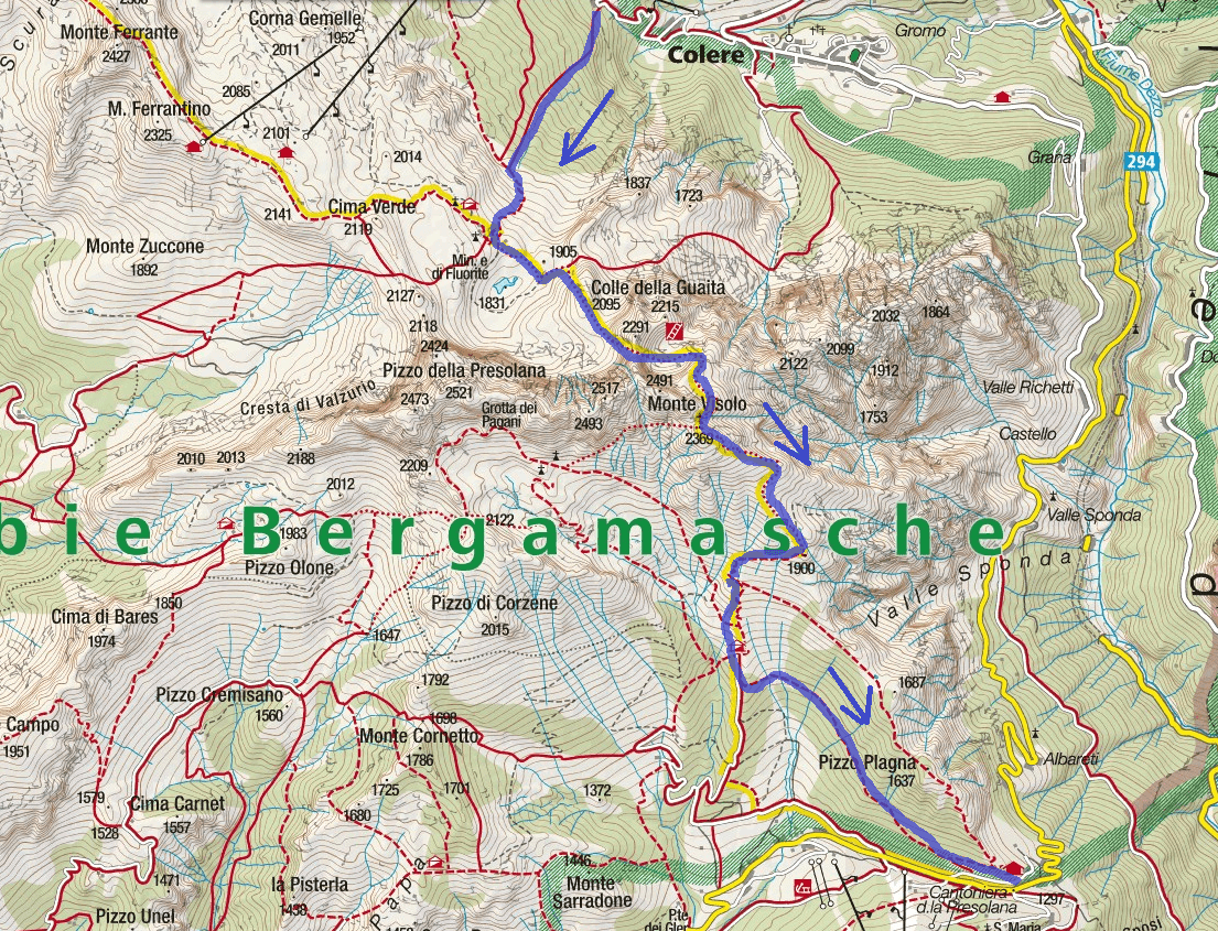 Ferrata Map Porta della Porta High Level Itinerary