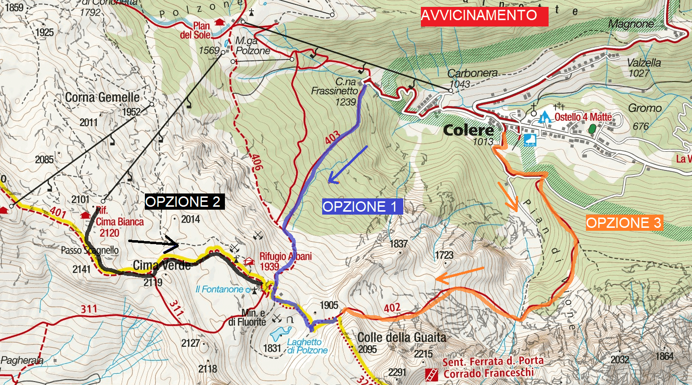 Ferrata map Passo della Porta Approach Itinerary