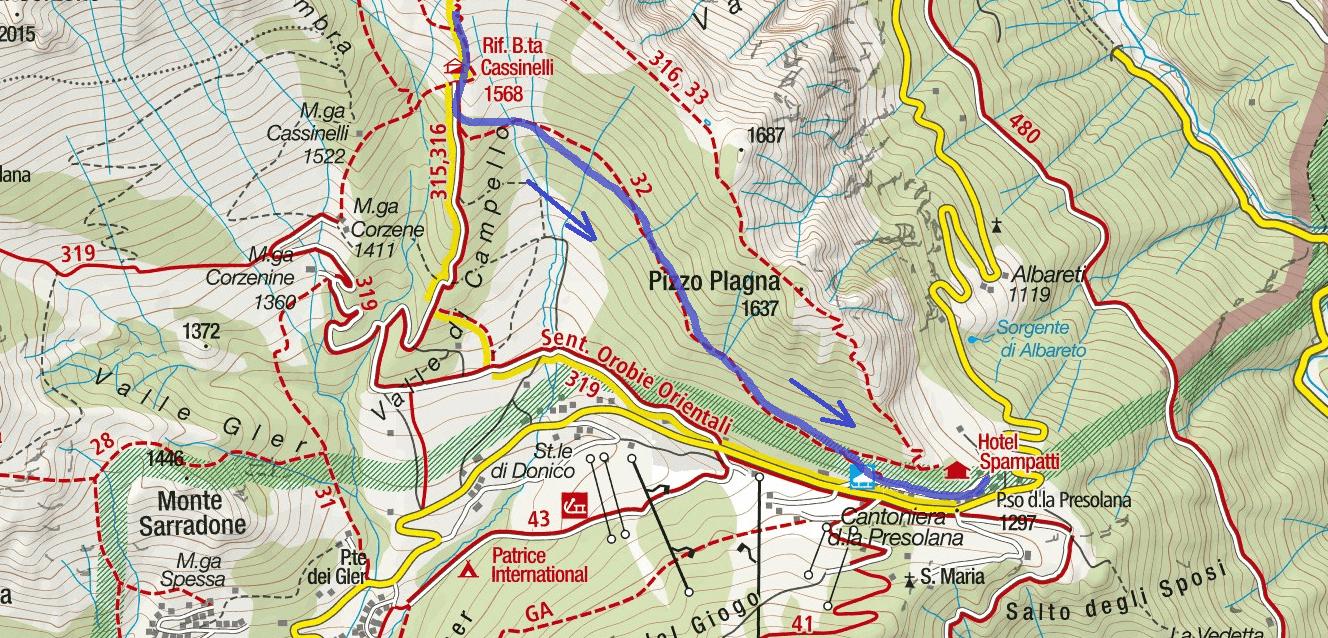Ferrata map Passo della Porta Discesa Itinerary