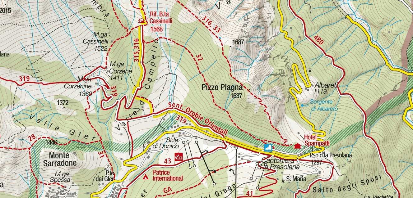 Ferrata Pass Passo Porta Descent Map