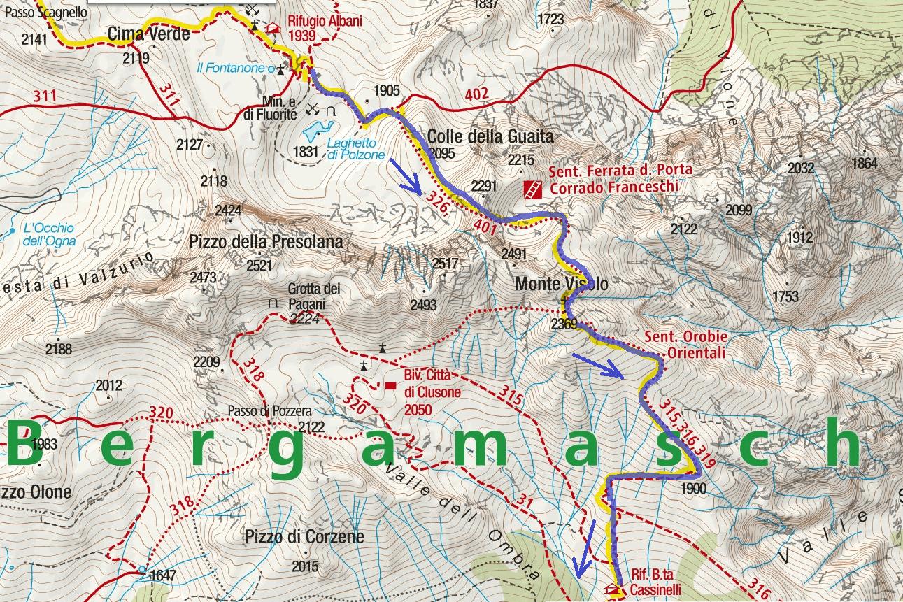 Ferrata map Passo della Porta Itinerary