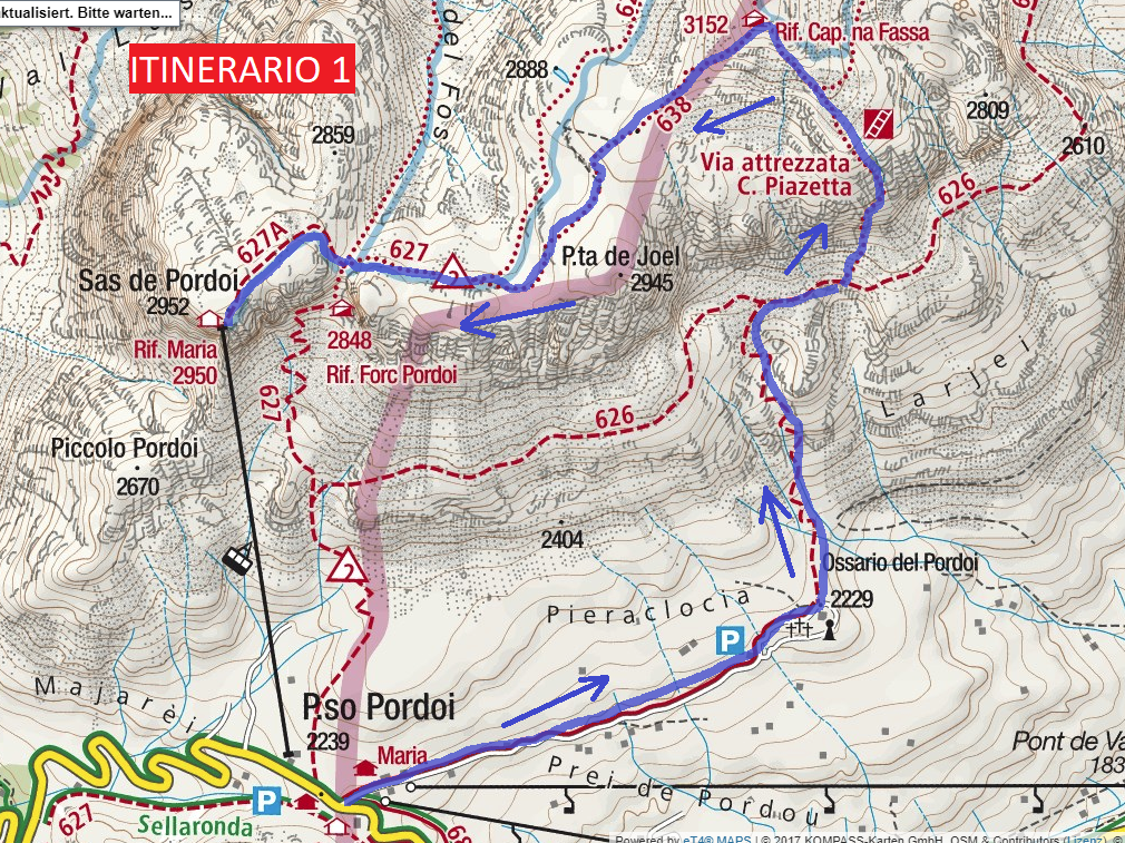 Ferrata map Piazzetta Route 1