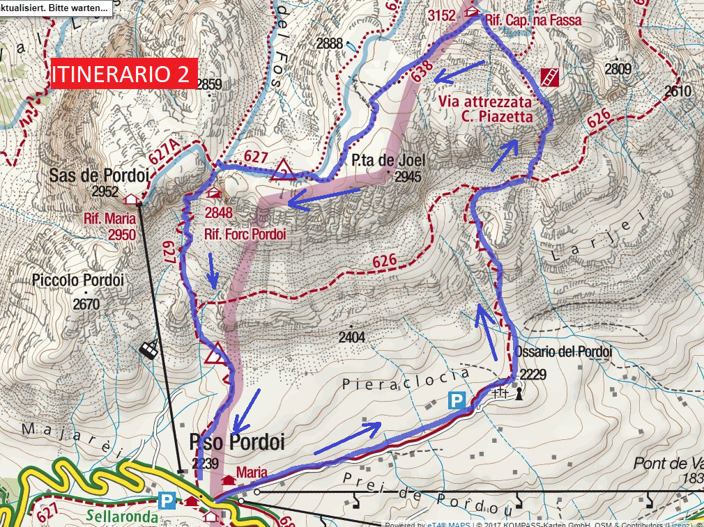 Piazzetta Route 2 Ferrata Map