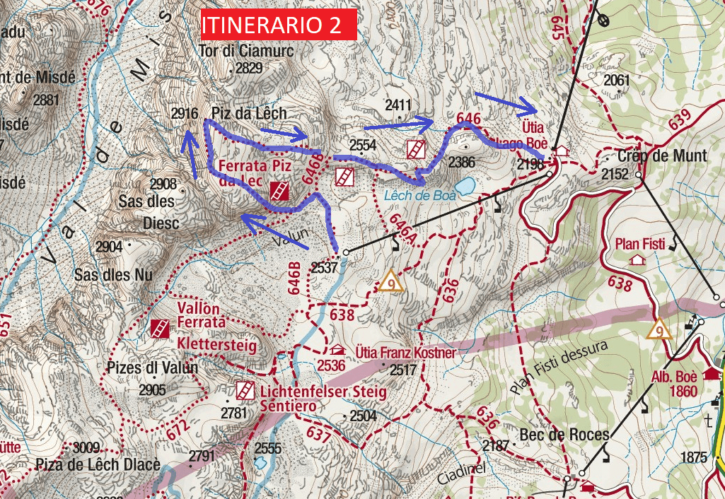 Piz del Lech Ferrata Map Itinerary 2