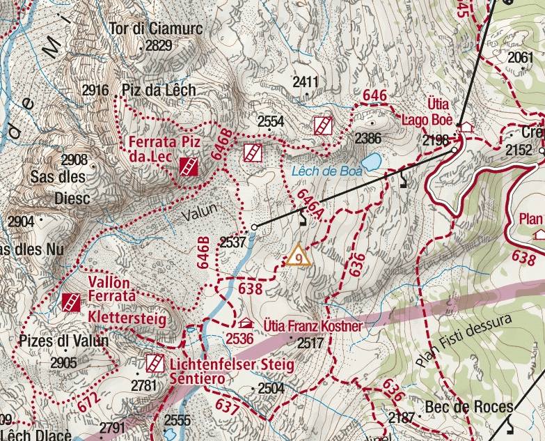 Piz del Lech Ferrata Map