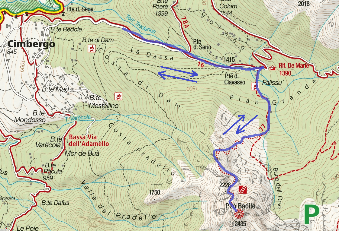 Ferrata map Pizzo Badile Camuno Itinerary