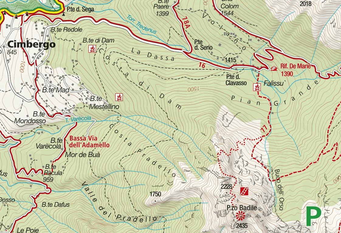 Ferrata Pizzo Badile Camuno Map