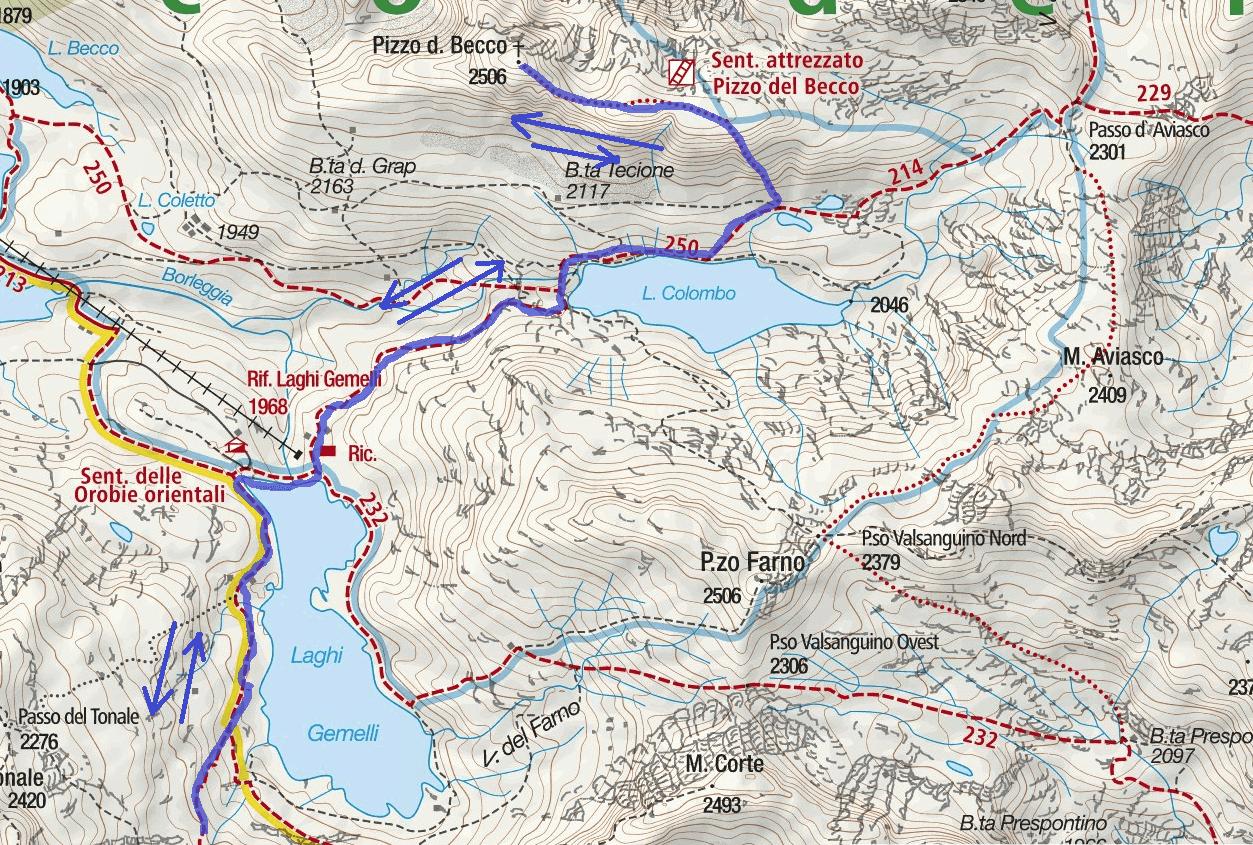 Cartina Ferrata Pizzo del Becco Dettaglio 1 Itinerario