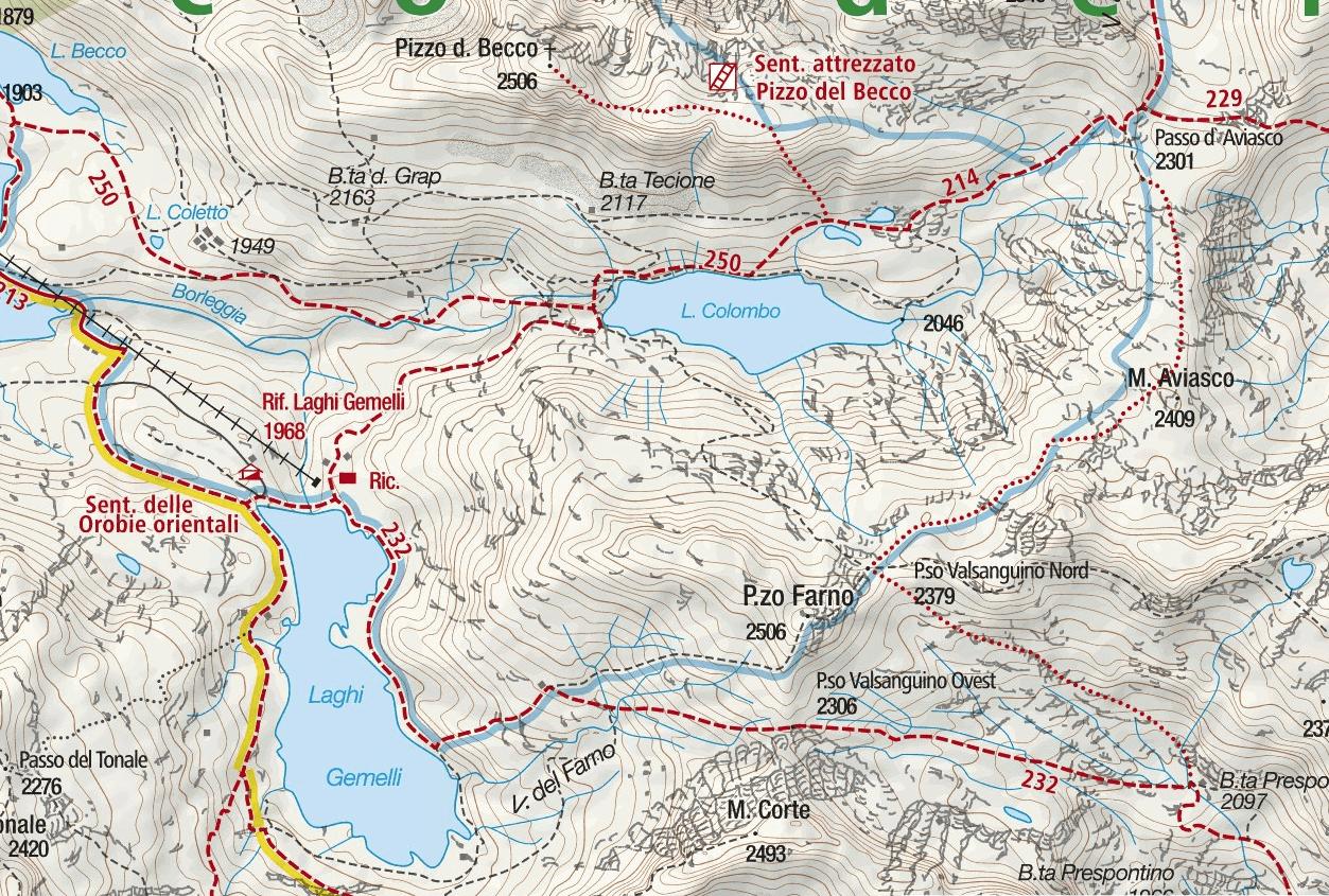 Ferrata map Pizzo del Becco Detail 1