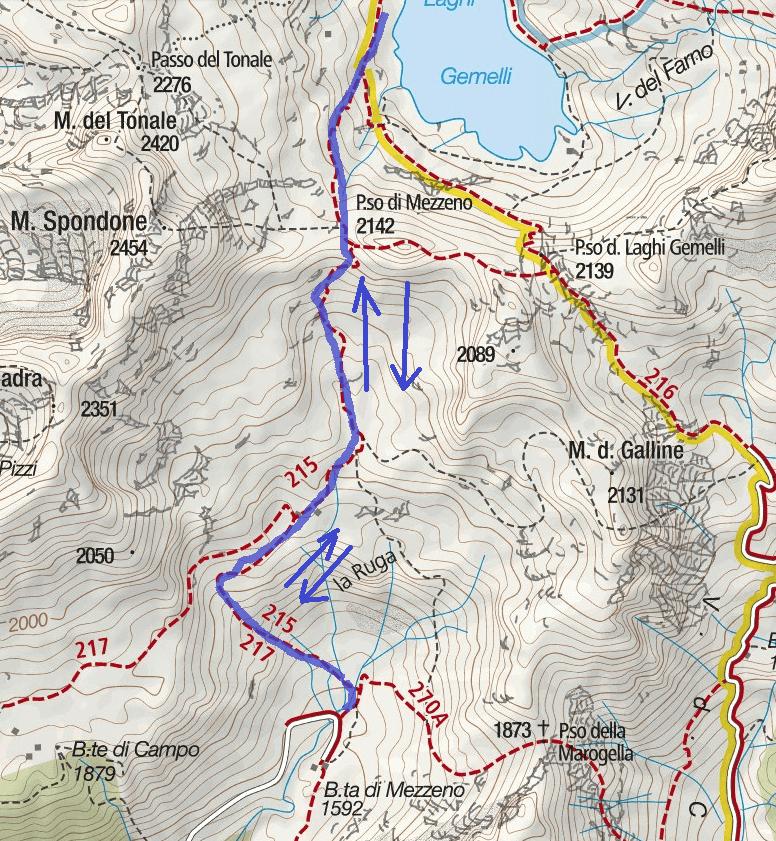 Cartina Ferrata Pizzo del Becco Dettaglio 2 Itinerario