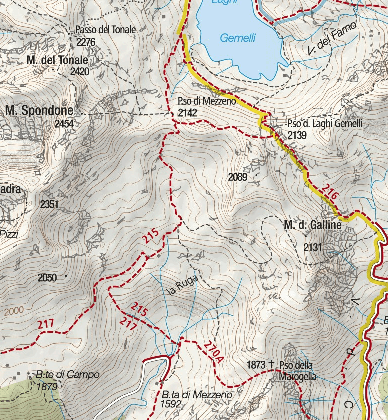 Ferrata map Pizzo del Becco Detail 2