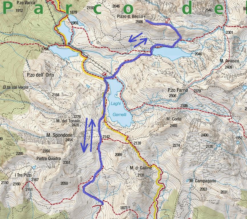 Ferrata map Pizzo del Becco Itinerary