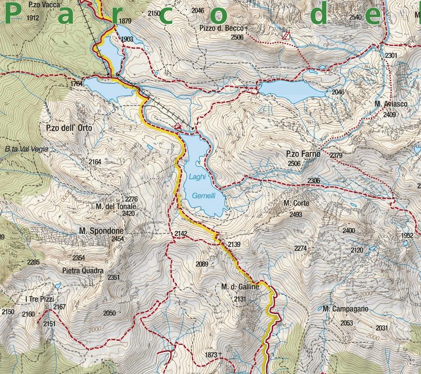 Ferrata Pizzo del Becco Map