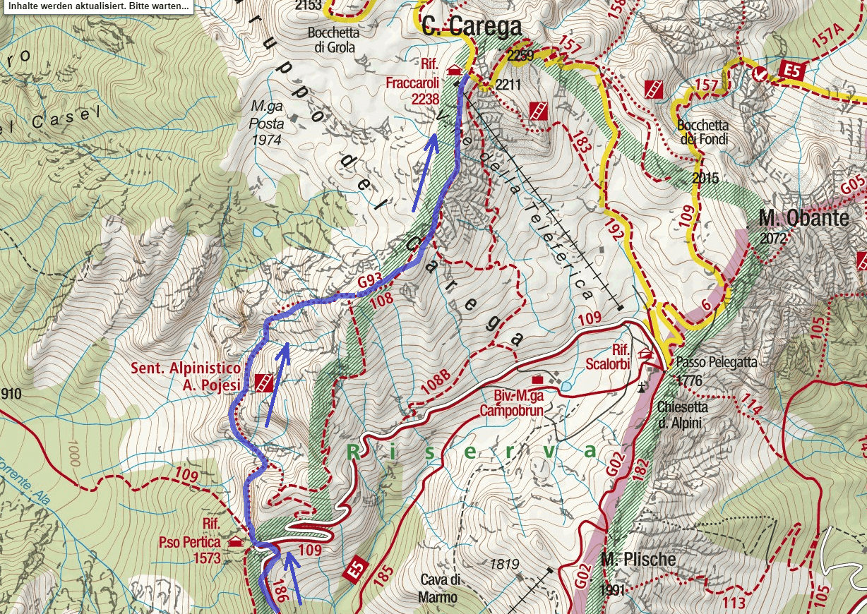Pojesi Ferrata Map Itinerary Detail