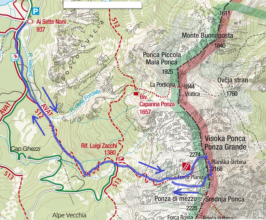 Ponza Grande Route Ferrata Map