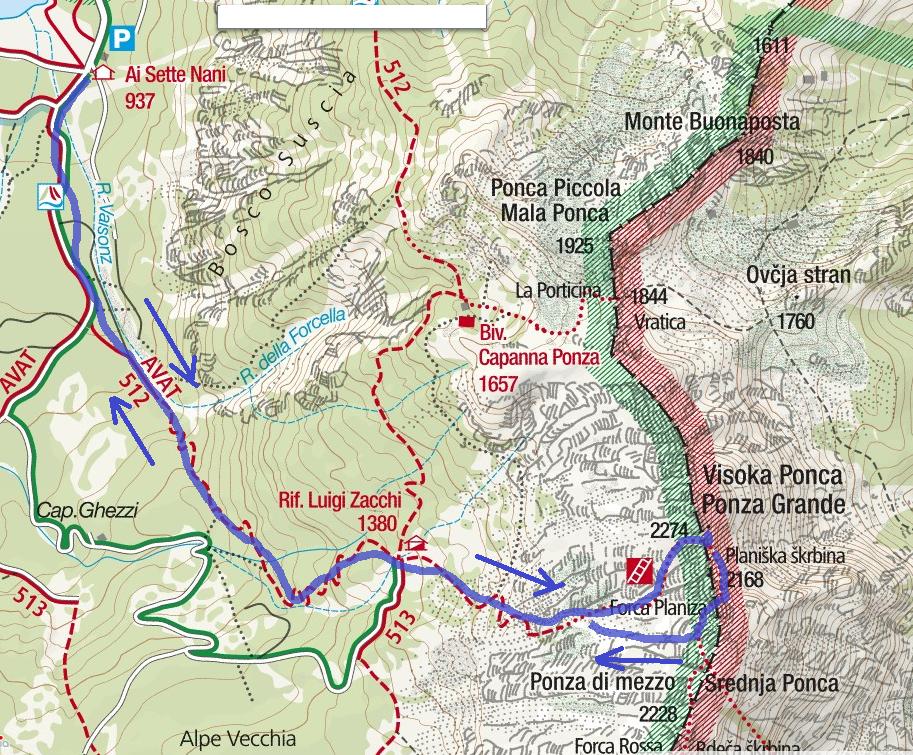 Cartina Ferrata Ponza Grande Itinerario