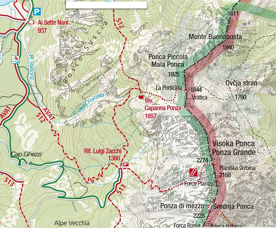 Ponza Grande Ferrata Map