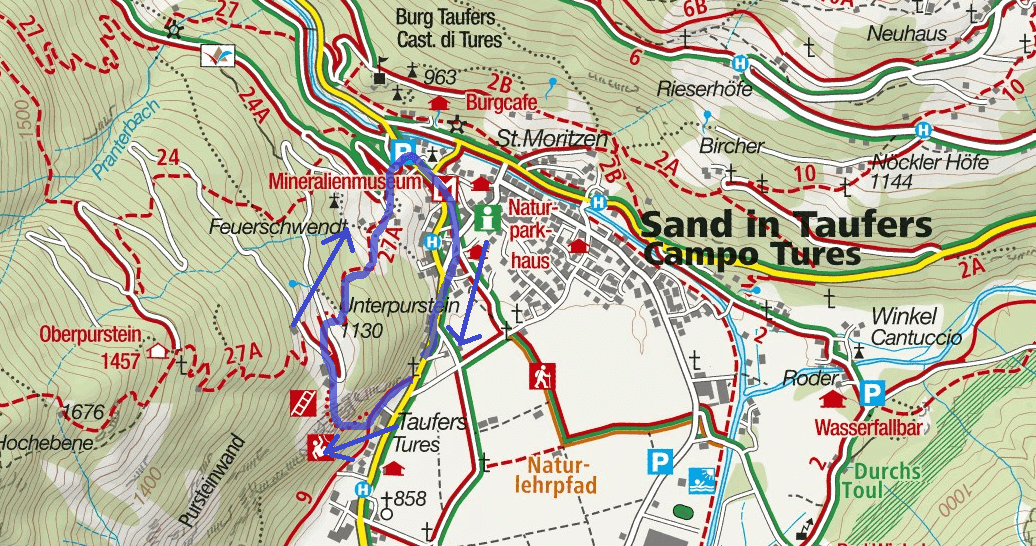 Pursteinwand Ferrata Map Itinerary