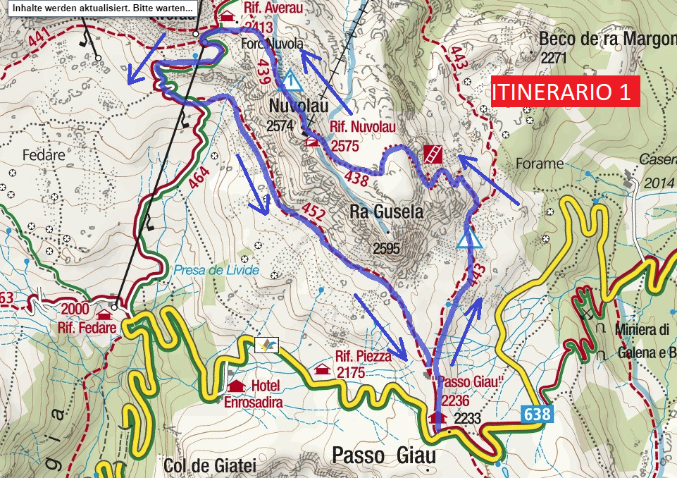 Ferrata Ra Gusela Route 1 map