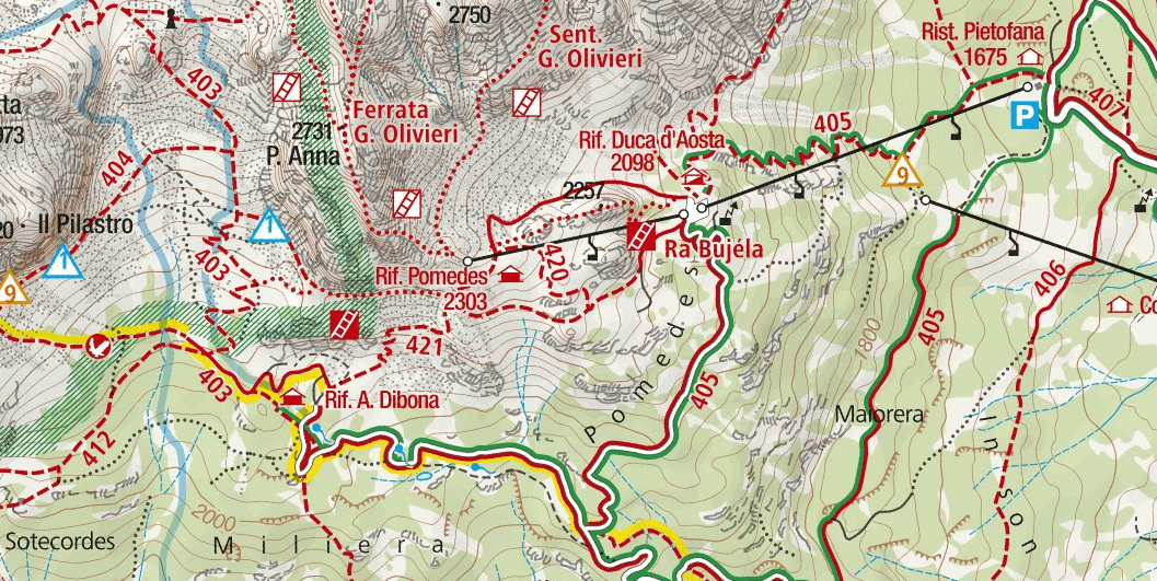 Ferrata Ra Pegna map
