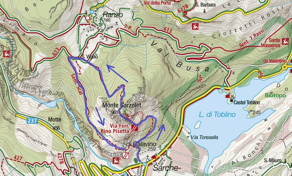 Ferrata map Rino Pisetta Route 1