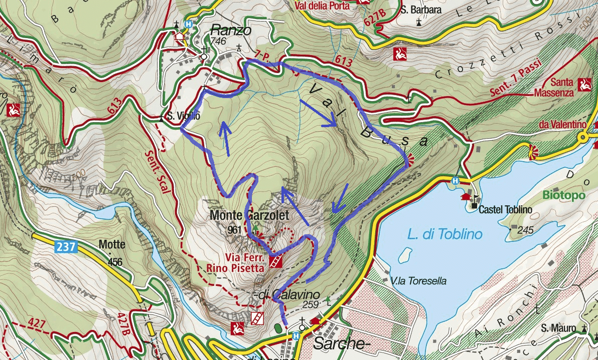 Ferrata map Rino Pisetta Route 2