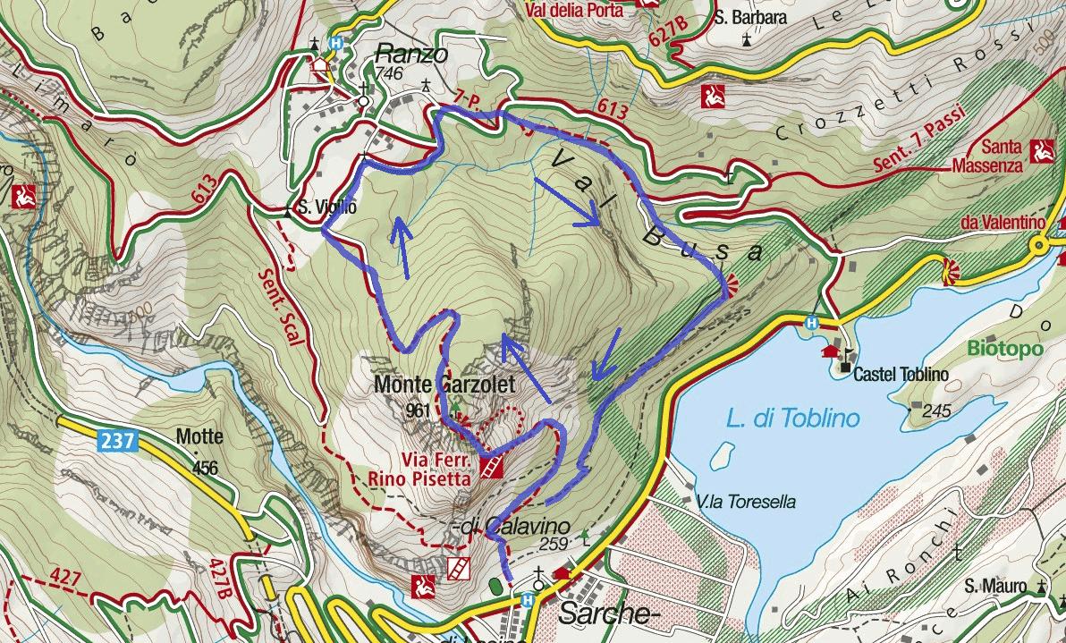 Cartina Ferrata Rino Pisetta Itinerario 2