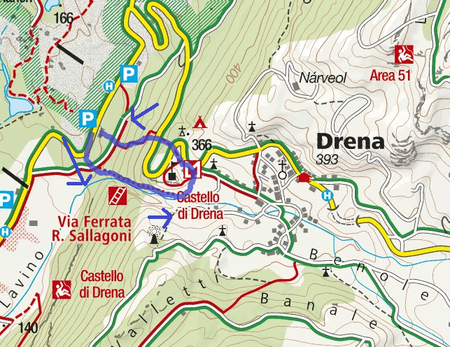 Rio Sallagoni Ferrata Map Castel Drena Itinerary