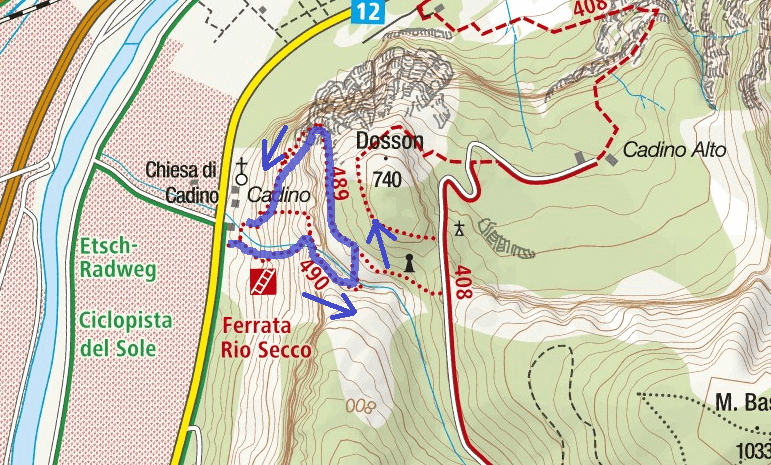 Rio Secco Ferrata Map Itinerary