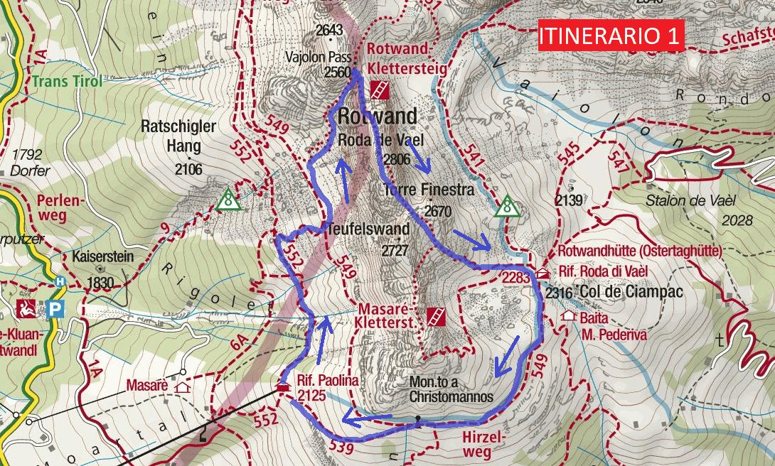 Cartina Ferrata Roda da Vael Itinerario 1