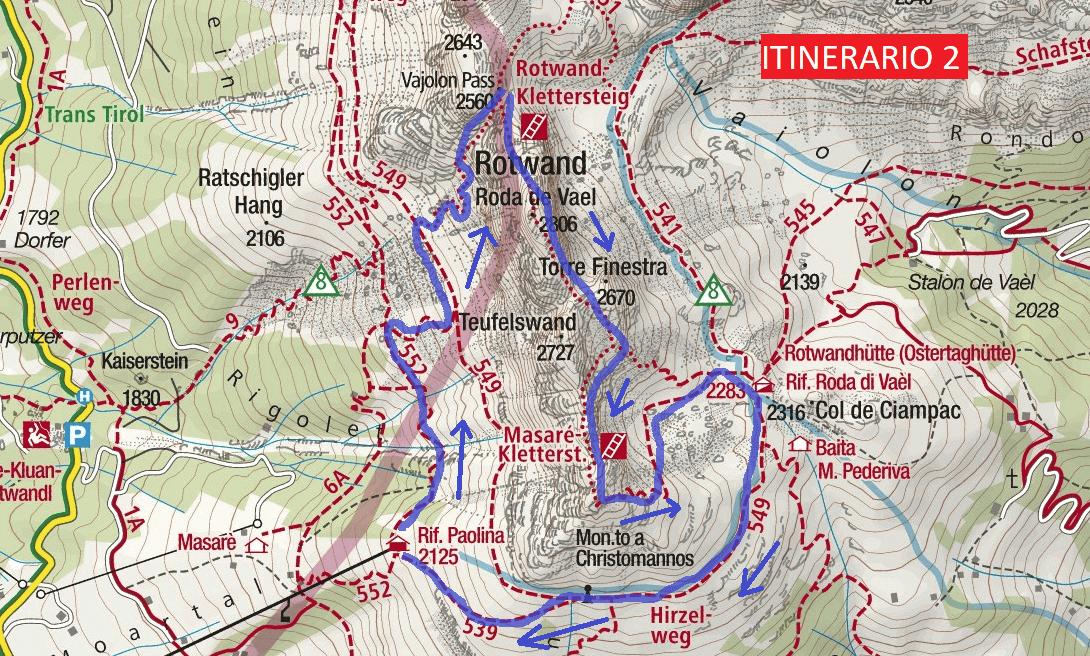 Cartina Ferrata Roda da Vael Itinerario 2