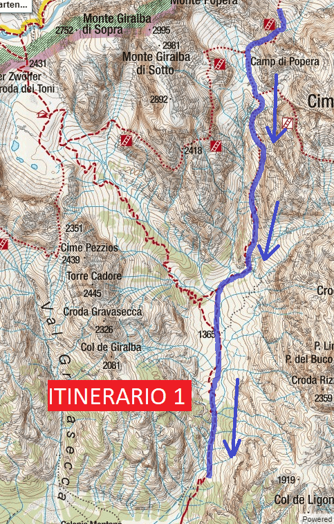 Cartina Ferrata Roghel Itinerario 1