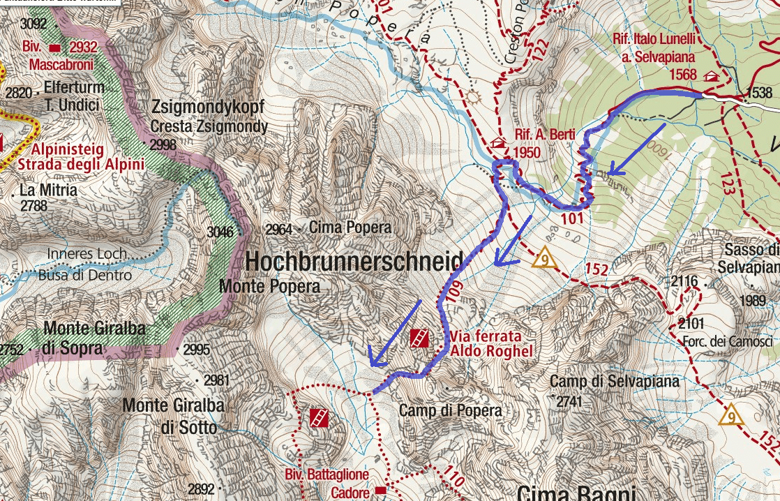 Cartina Ferrata Roghel Itinerario