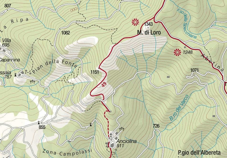 Ferrata Romana Nesi map