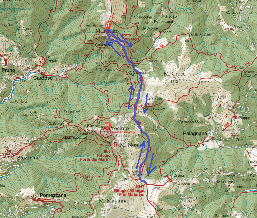 Salvatori Pania Ferrata Map Route
