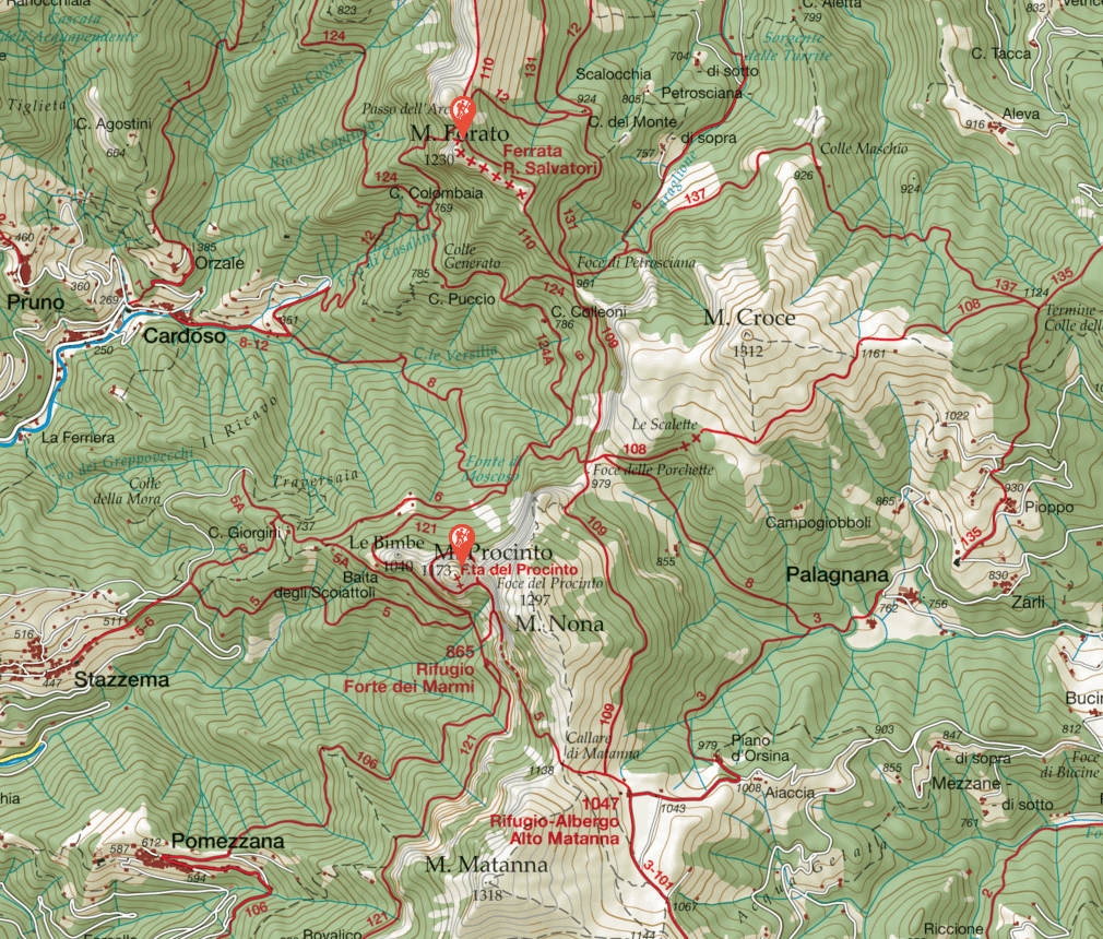 Salvatori Pania Forata Ferrata Map