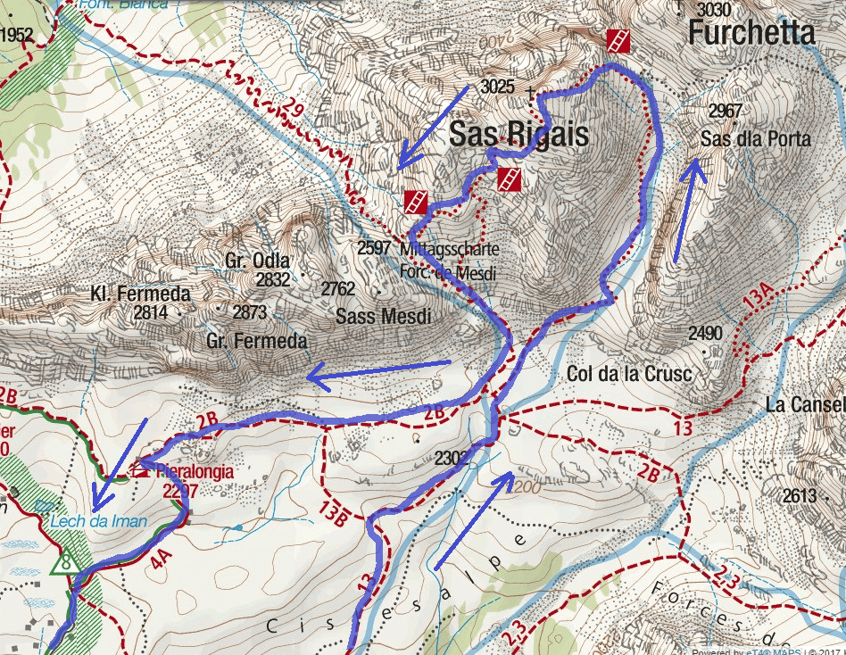 Sass Rigais Ferrata Map Itinerary Detail