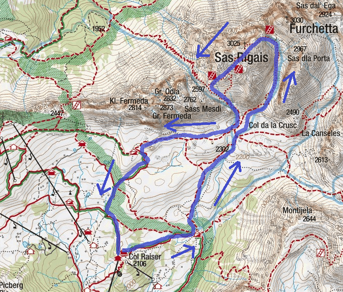 Sass Rigais Ferrata Map Itinerary