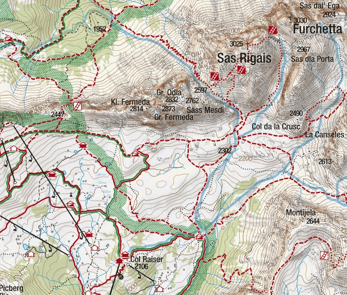 Sass Rigais Ferrata Map