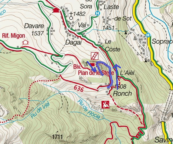 Sass de Rocia Ferrata Map Itinerary