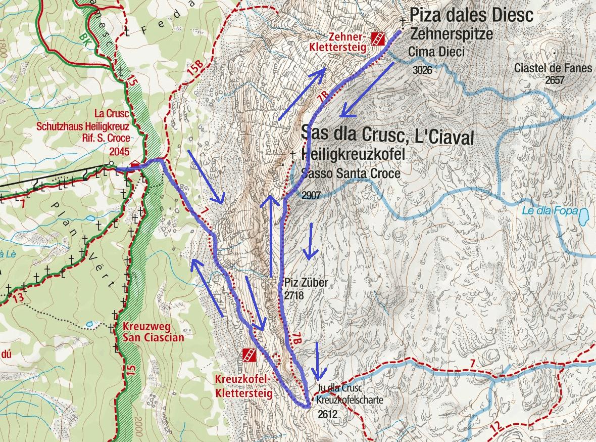 Cartina Ferrata Sass dla Crusc e Dieci Itinerario