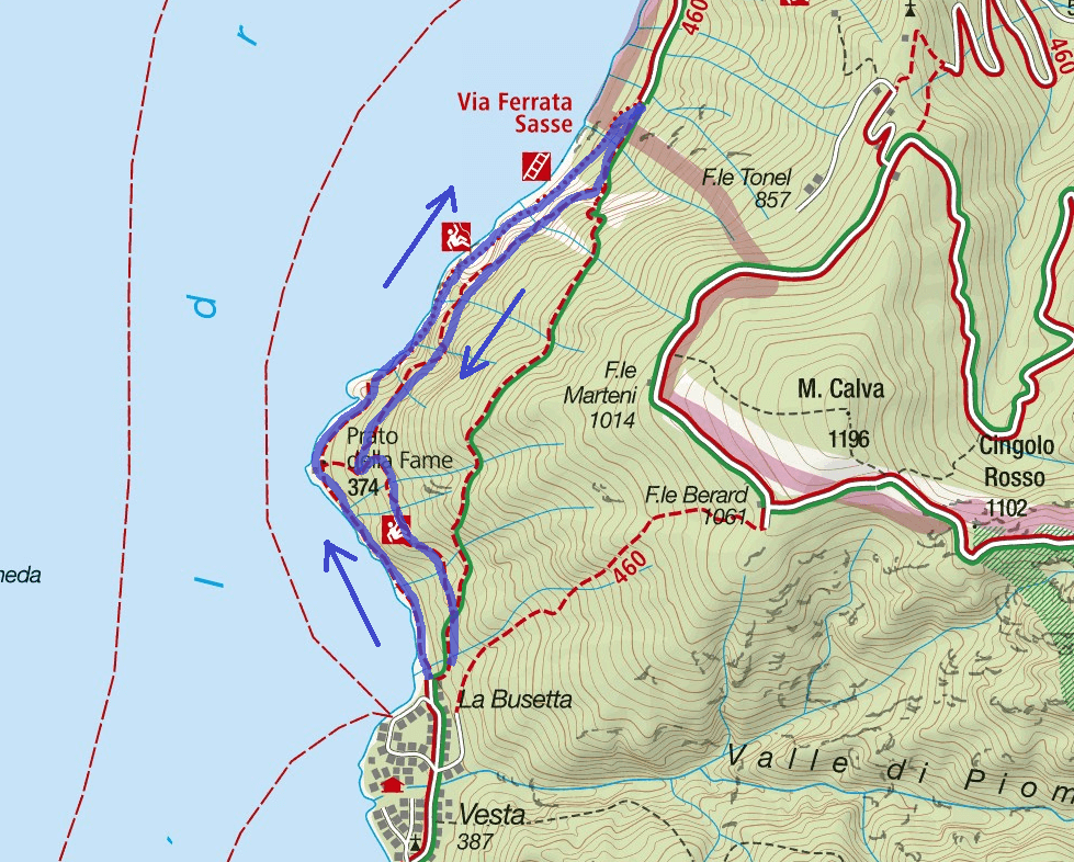 Ferrata Sasse Itinerary Map