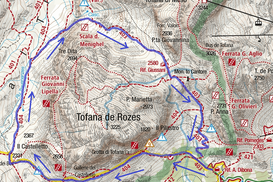Ferrata map Scala Menighel Itinerary