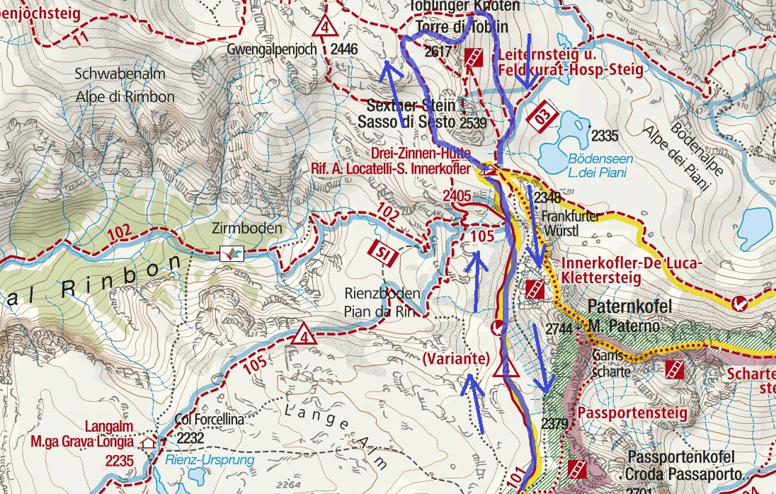 Ferrata Map Torre Toblin Tower Itinerary Detail