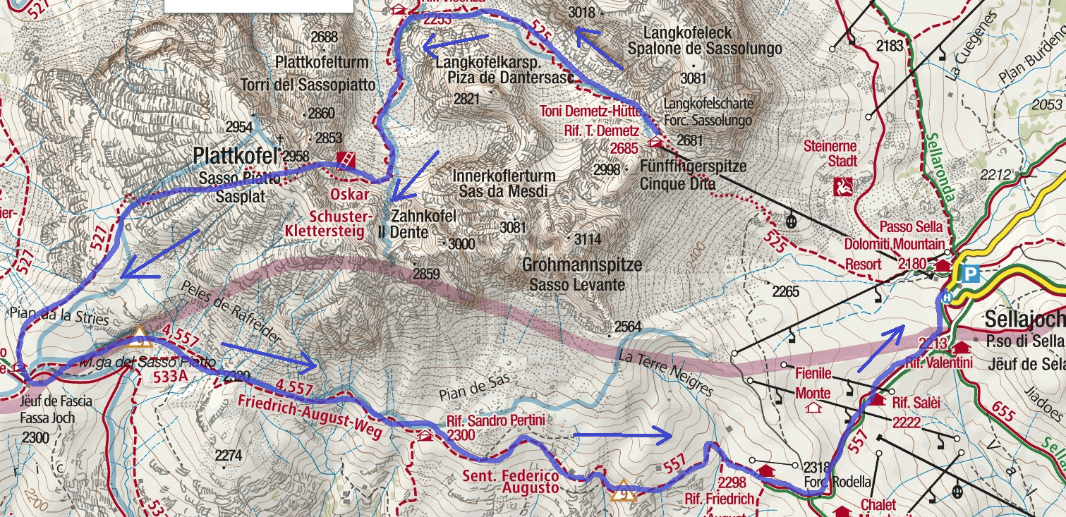 Schuster Ferrata Sassopiatto Itinerary Map